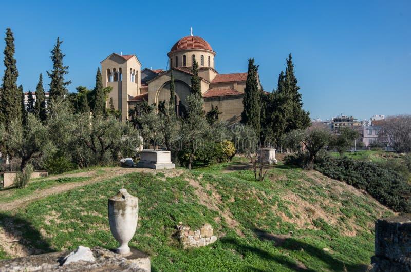 在Kerameikos公墓附近的三位一体教会在雅典, Gree 图库摄影