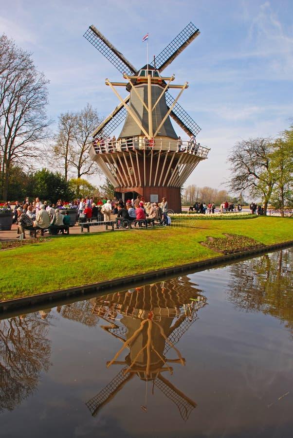 在Keukenhof的荷兰风车 库存照片