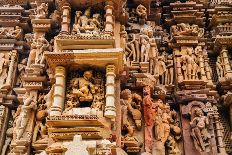 在khajuraho,印度的Javari寺庙古老废墟 免版税库存照片