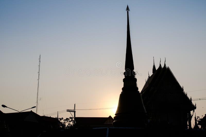 在khonkean的阴影寺庙那个寺庙 库存照片