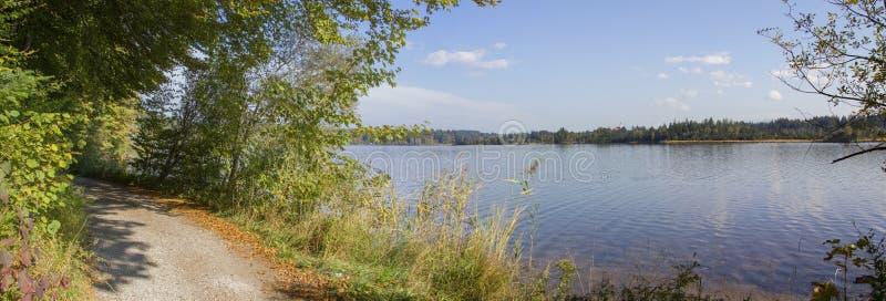 在kirchsee,田园诗自然风景附近的湖边走道 库存图片