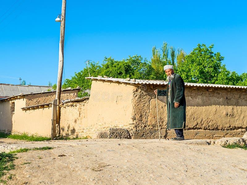 在kishlak的资深乌兹别克人 免版税库存照片