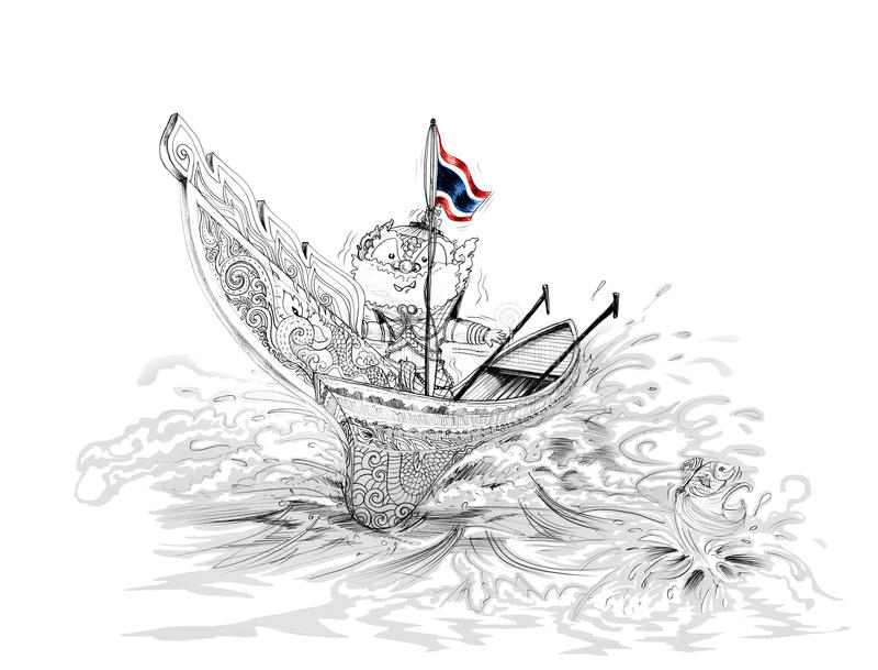 在Kolek的泰国Gumphant泰国巨人在泰国小船动画片南部 库存图片