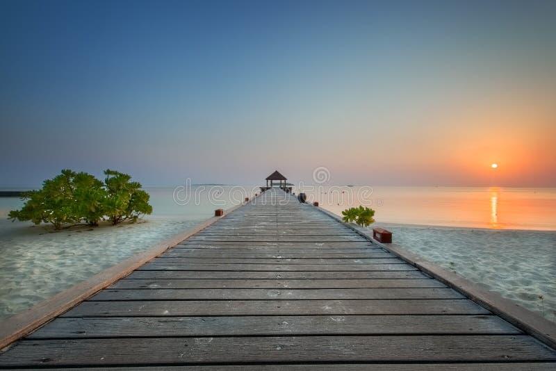 在Komandoo的日出在马尔代夫 库存图片
