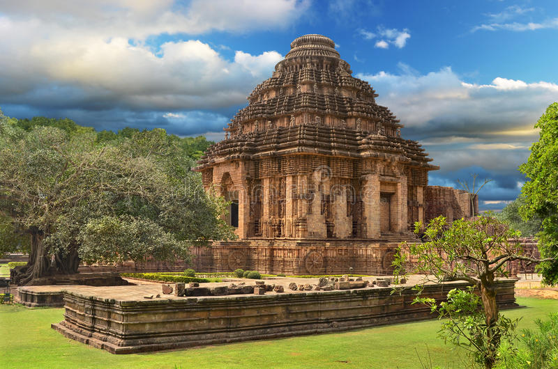 在Konark的太阳寺庙,印度 免版税库存图片