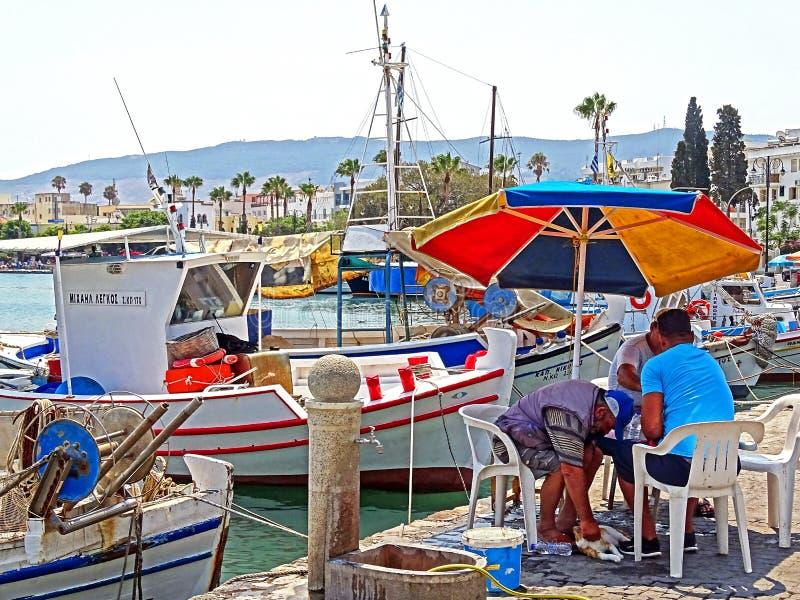 在Kos港的小渔船在希腊 免版税库存照片