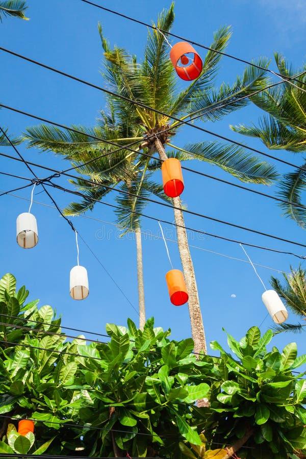 在Krabi的垂悬的五颜六色的庆祝装饰元素, Th 免版税图库摄影