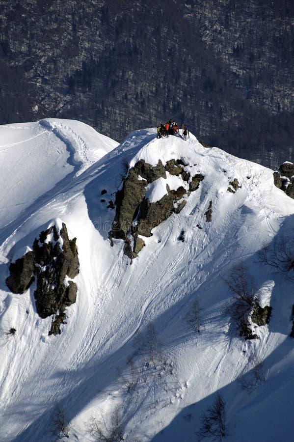 在Krasnaya Polyana的Heli滑雪。 图库摄影