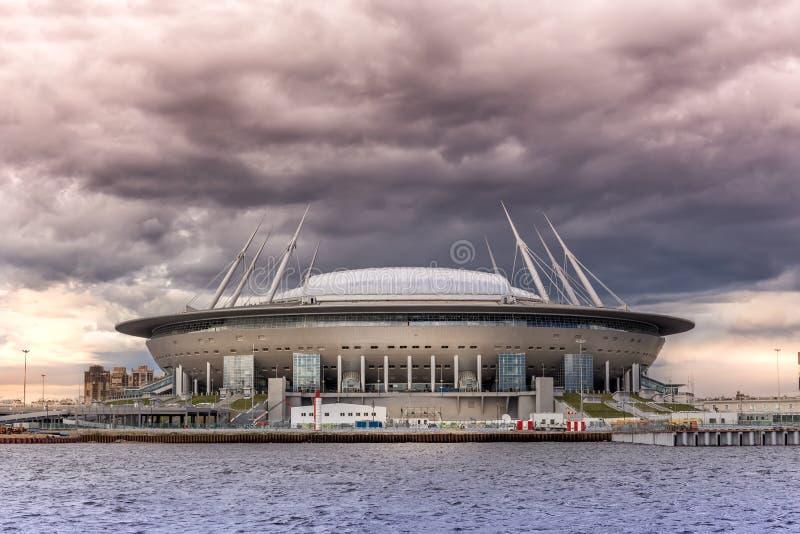 在Krestovsky海岛上的新的足球`圣彼德堡竞技场`在世界杯的圣彼德堡2018年 免版税库存照片