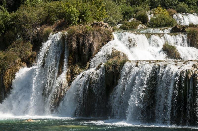 在krka国家公园的瀑布 库存图片
