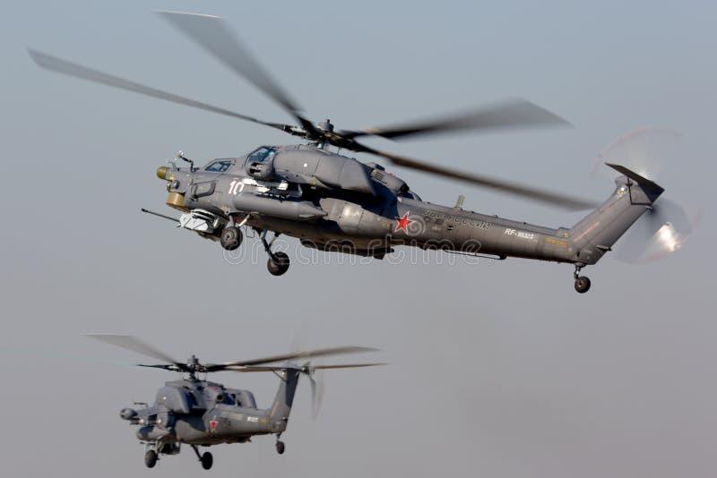 在Kubinka空军基地的米尔Mi28N军用直升机 库存图片