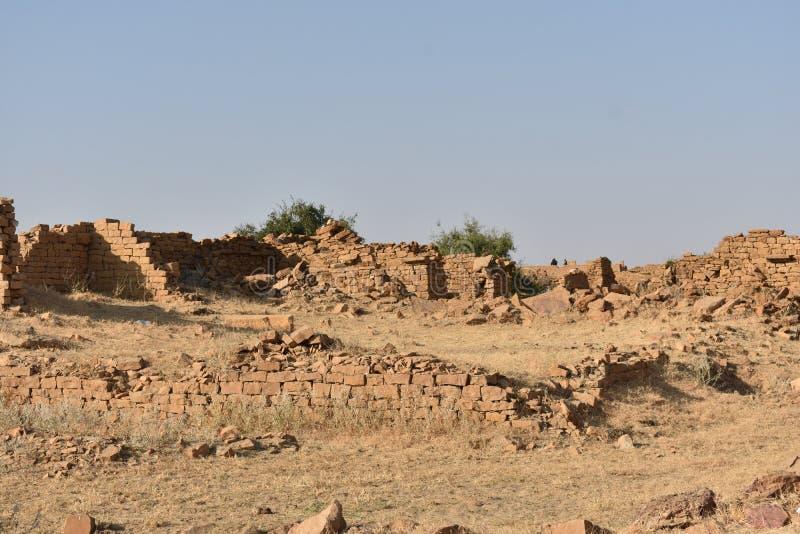 在kuldhara遗产villahe的历史纪念碑在jaisalmer拉贾斯坦印度 库存照片