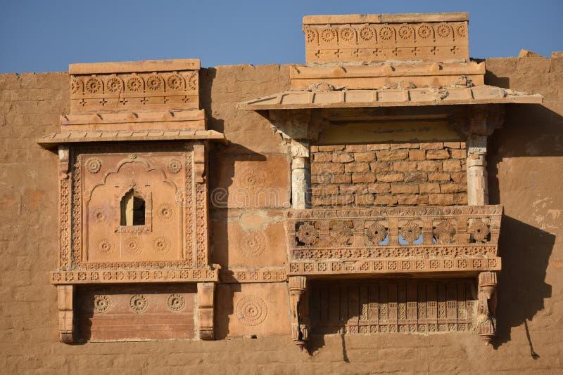在kuldhara遗产villahe的历史纪念碑在jaisalmer拉贾斯坦印度 免版税图库摄影