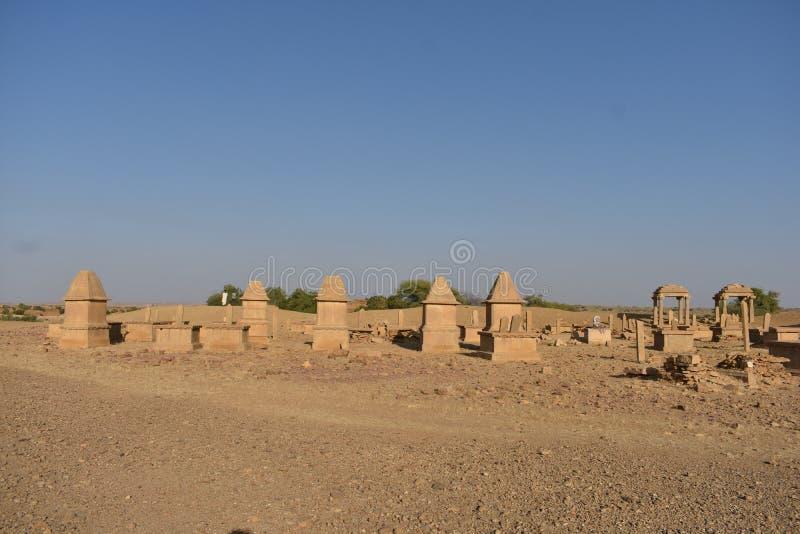 在kuldhara遗产villahe的历史纪念碑在jaisalmer拉贾斯坦印度 免版税库存图片