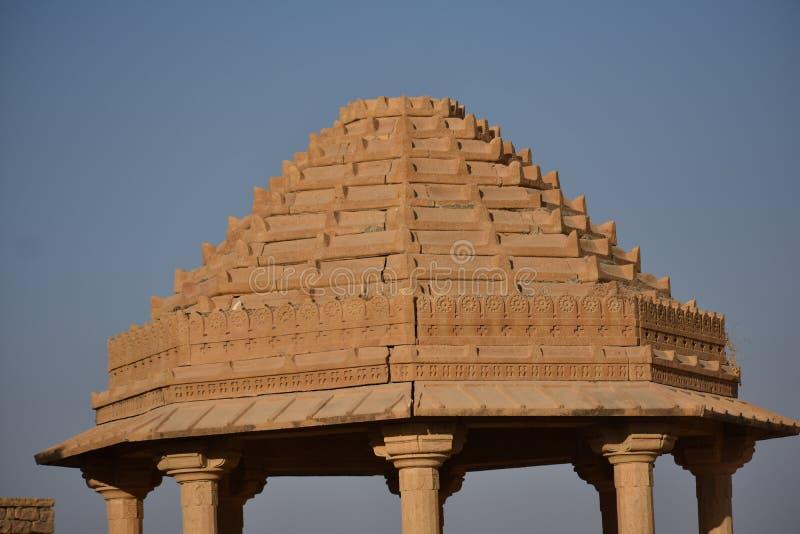 在kuldhara遗产villahe的历史纪念碑在jaisalmer拉贾斯坦印度 免版税库存照片