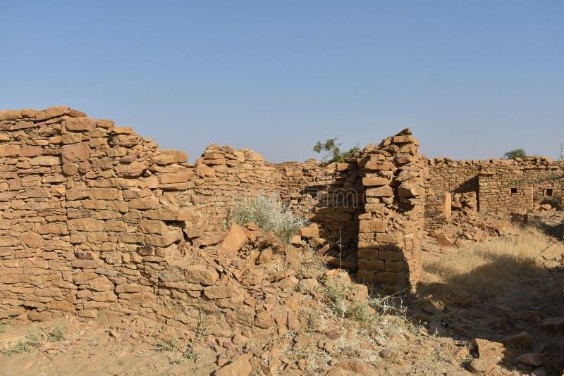 在kuldhara遗产villahe的历史纪念碑在jaisalmer拉贾斯坦印度 库存图片