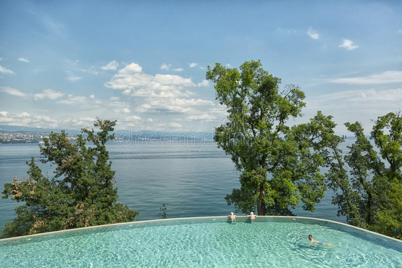 在Kvarner海湾的看法在克罗地亚 免版税库存图片