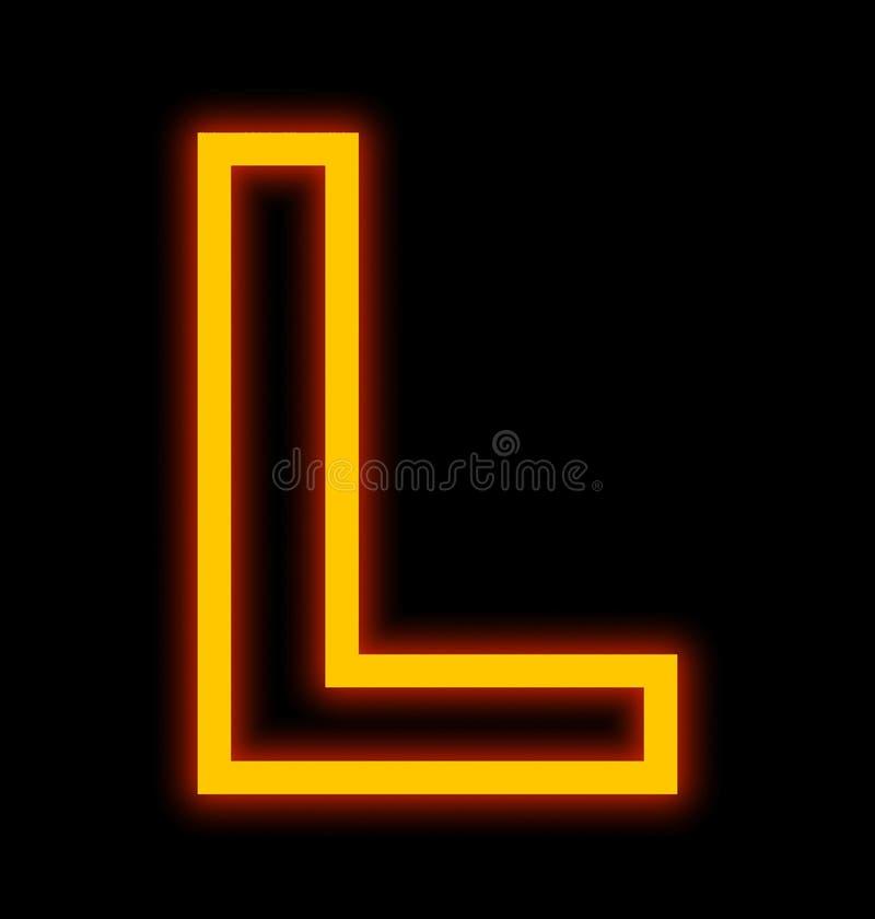 在L在黑色被概述隔绝的霓虹灯上写字 皇族释放例证