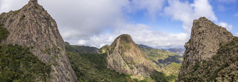 在la拉戈梅拉,加那利群岛的全景风景视图 免版税库存照片