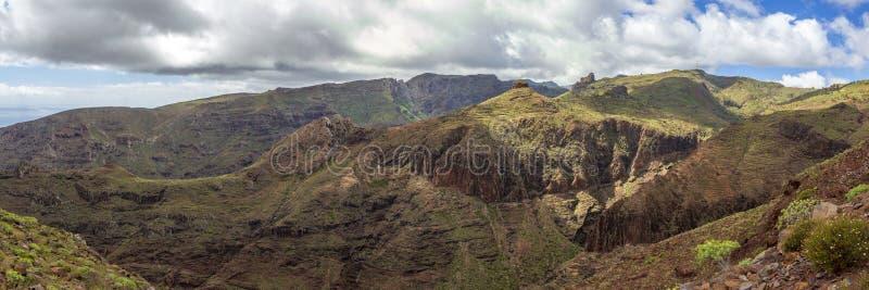 在la拉戈梅拉,加那利群岛的全景风景视图 图库摄影