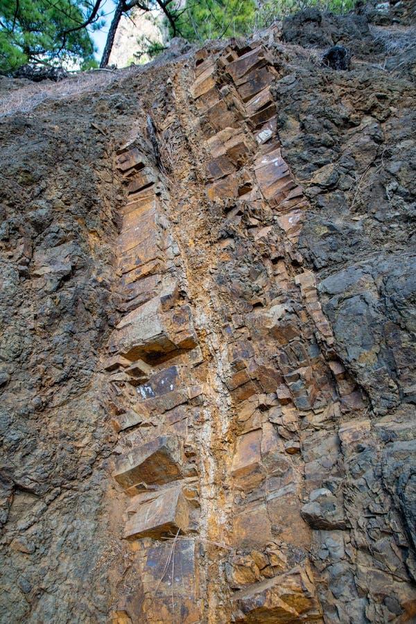 在La Cumbrecita,拉帕尔玛岛,加那利群岛,西班牙的火山的火成岩颜色 库存图片