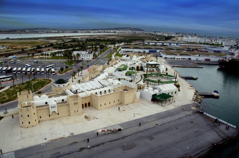 在La Goulette巡航终端和城市的全景在突尼斯 库存照片