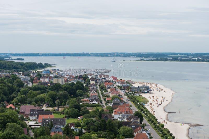在laboe的鸟景色西部往在波罗的海的基尔 免版税图库摄影