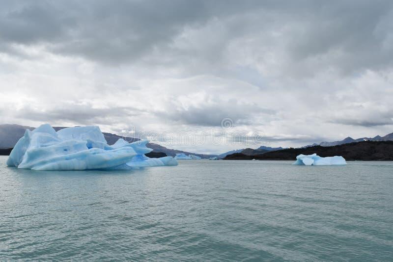 在Lago Argentino的冰山 免版税图库摄影