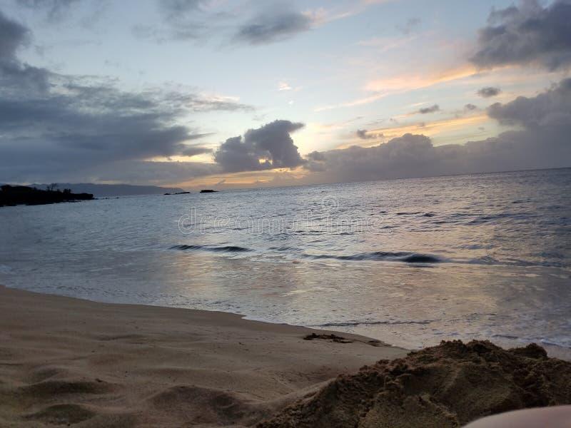 在Laie,奥阿胡岛,夏威夷附近的寺庙海滩 库存照片