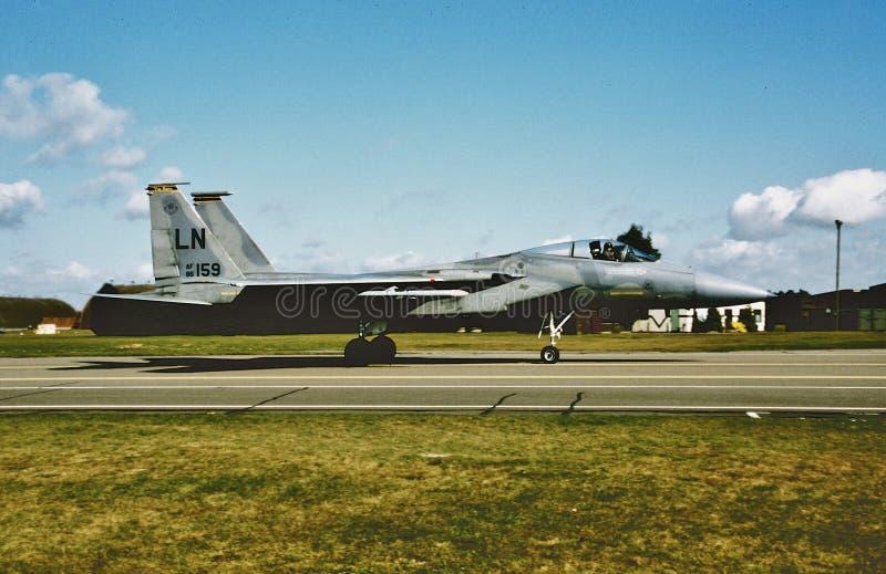在Lakenheath的美国空军麦克当诺道格拉斯公司F-15A雄猫 免版税库存图片