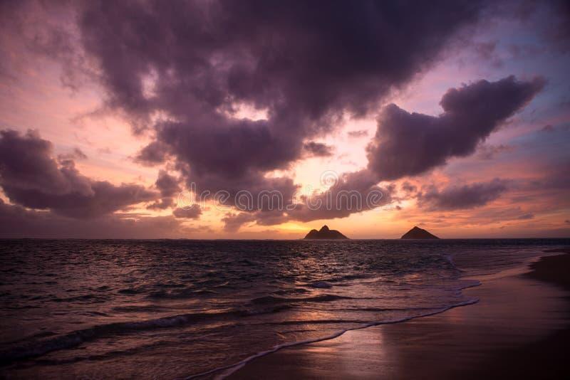 在lanikai海滩,夏威夷的日出 库存照片