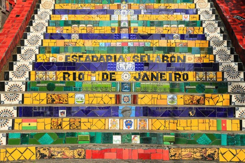 在lapa的铺磁砖的步在里约热内卢巴西 库存照片