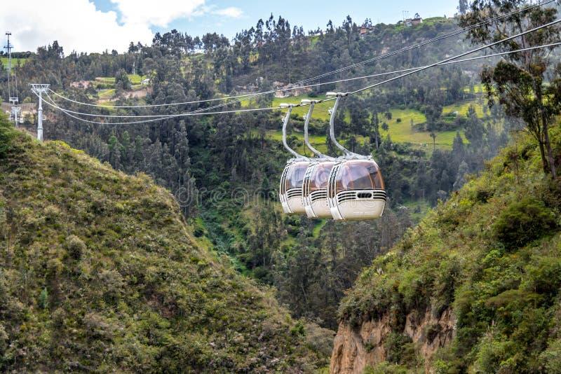 在Las Lajas圣所-伊皮亚莱斯,哥伦比亚的架空索道 免版税库存图片
