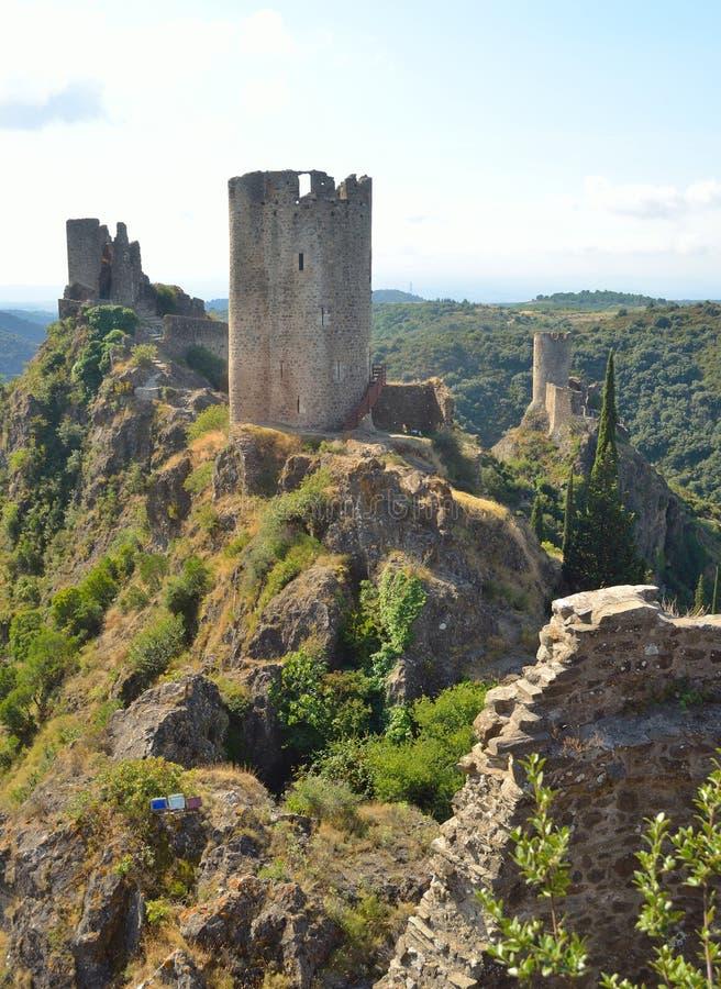 在Lastours城堡的4座城堡 免版税库存照片