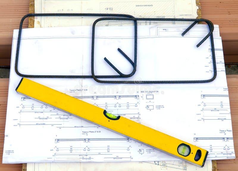 在laterocemento的平板与电镀物品金属射线  免版税库存照片