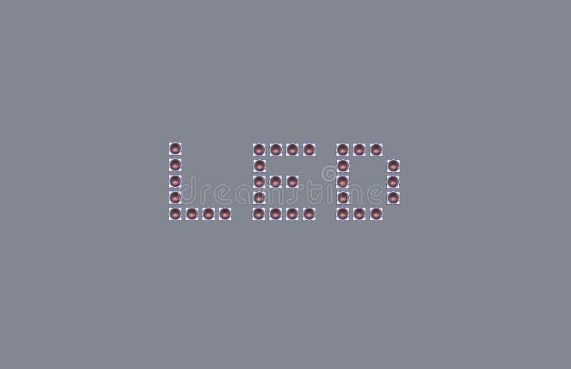 在LED文字的表面登上的组分 免版税库存图片