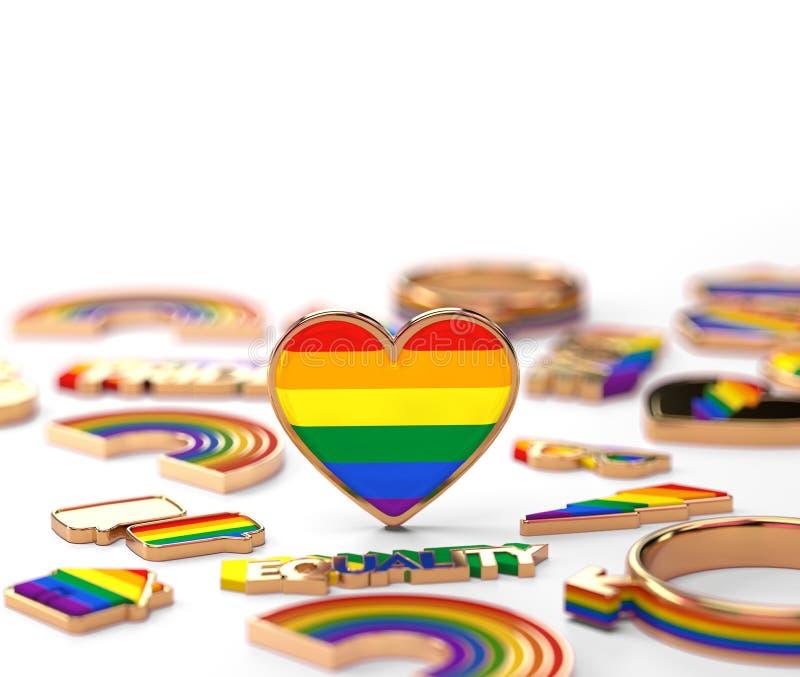 在LGBT彩虹心脏身分的接近的射击在白色背景 上面拷贝空间在您的文本的上面 3d?? 库存例证