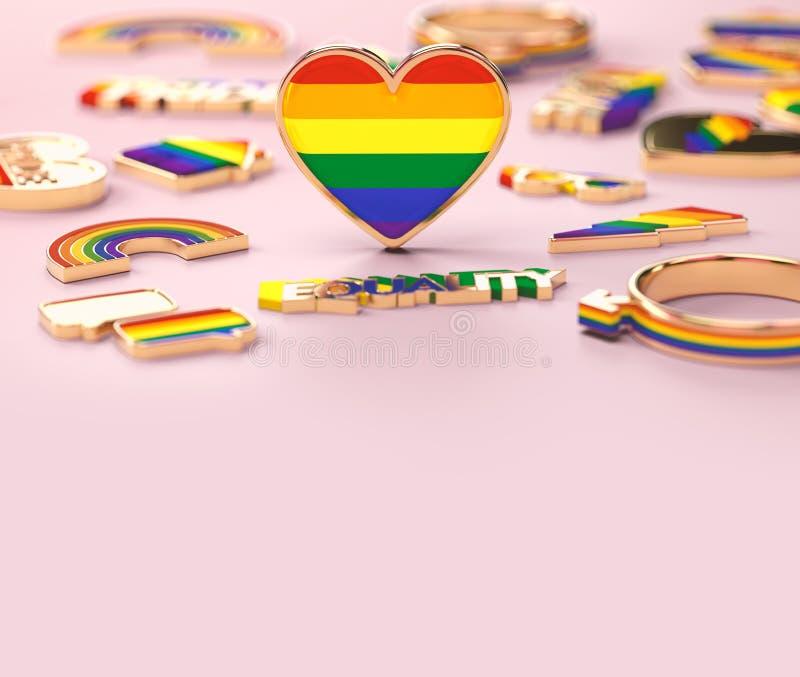 在LGBT彩虹心脏身分的接近的射击在粉红彩笔背景 t 3d?? 皇族释放例证
