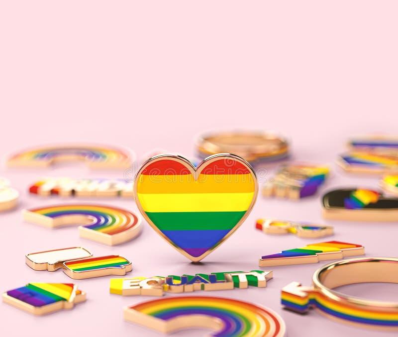 在LGBTQ+彩虹心脏身分的接近的射击在粉红彩笔背景 t 3d?? 向量例证