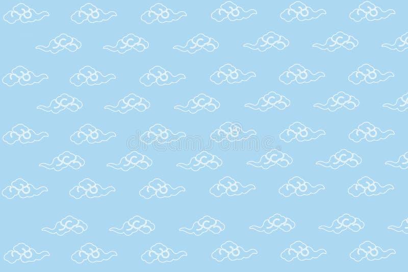 在Ligth蓝天的云彩样式 向量例证