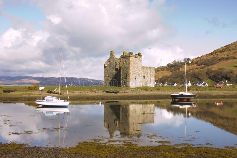 在Lochranza的城堡在苏格兰 库存照片