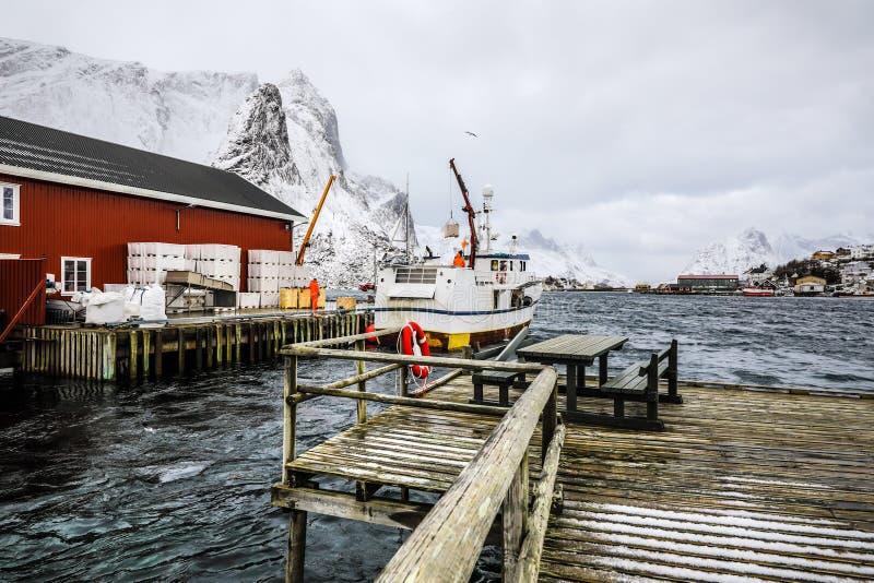 在Lofoten海岛的传统渔解决码头的捕鱼船  美丽的域前景横向挪威草莓 库存照片