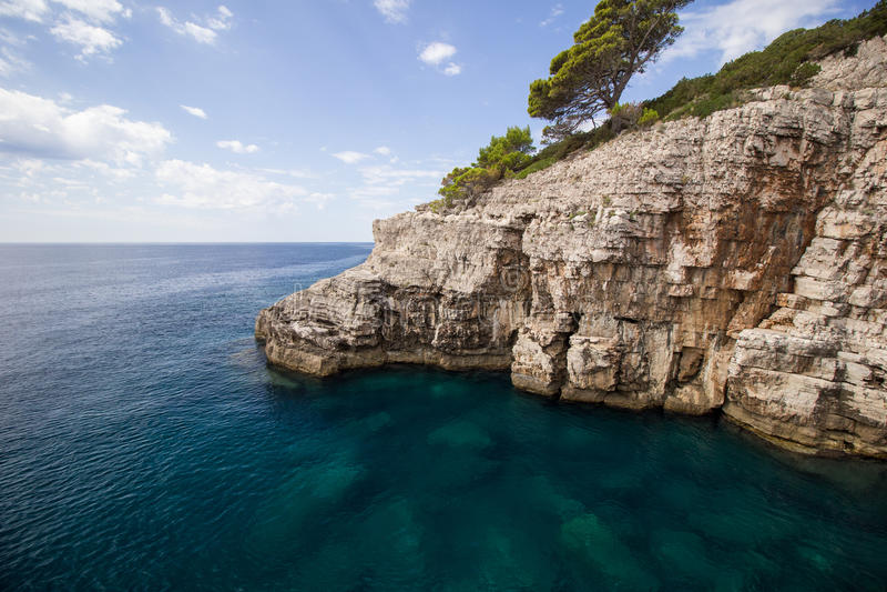 在Lokrum海岛的坚固性峭壁在克罗地亚 库存照片
