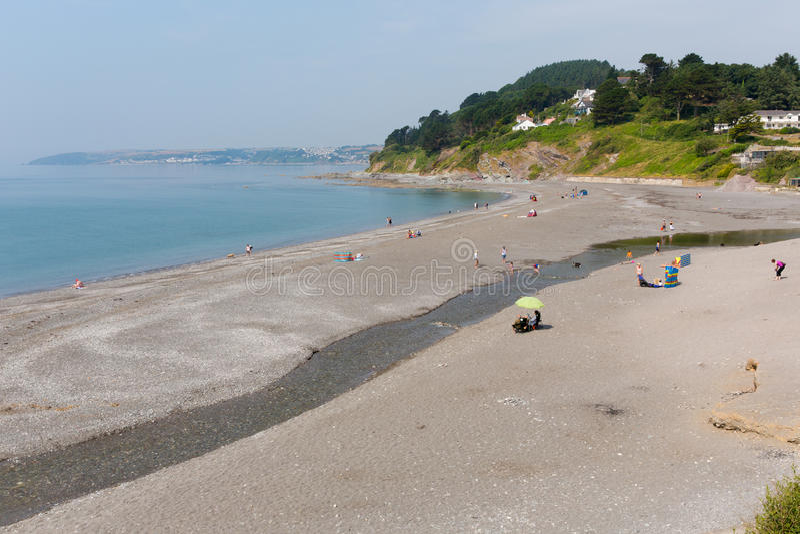 在Looe英国,联合王国附近的西顿海滩康沃尔郡 图库摄影