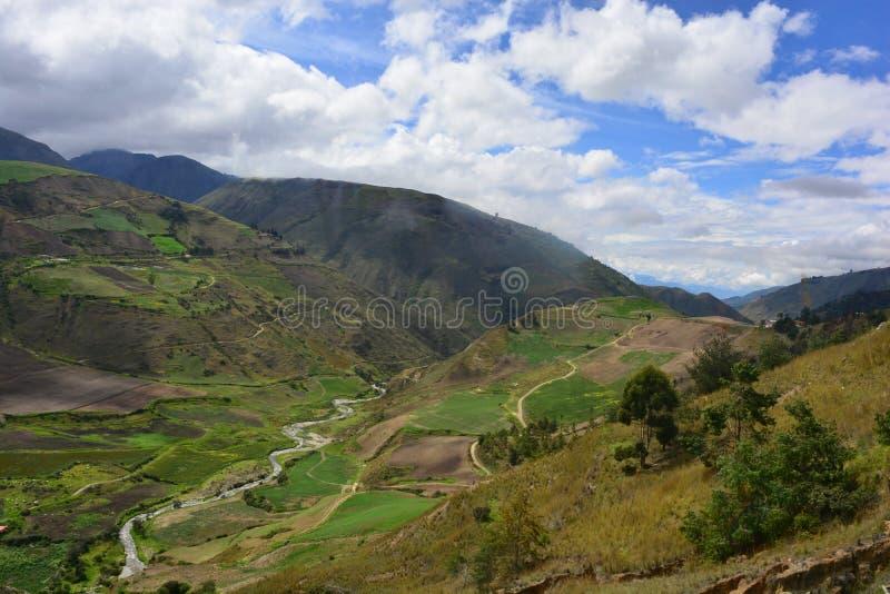 在Los Paramos,梅里达,委内瑞拉的美丽的谷 库存图片