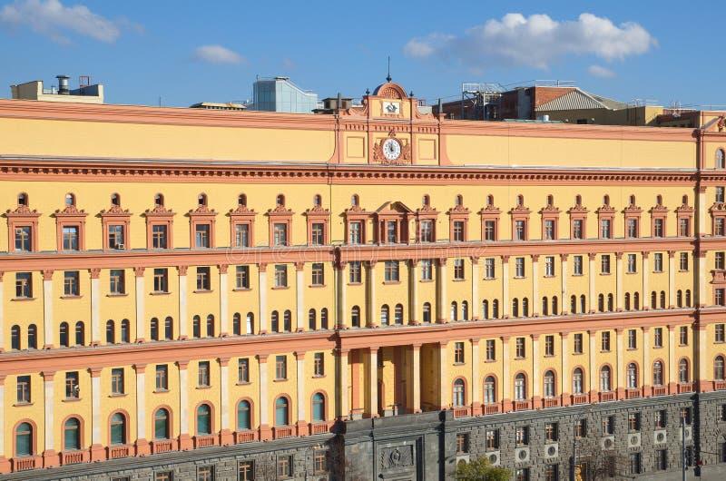 在Lubyanka广场,莫斯科,俄罗斯的历史建筑 免版税库存图片