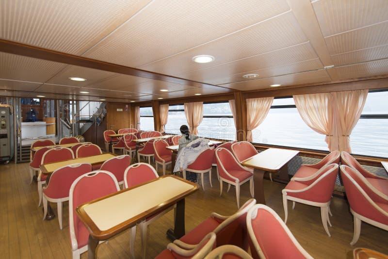 在Lugano湖的客船 免版税库存照片