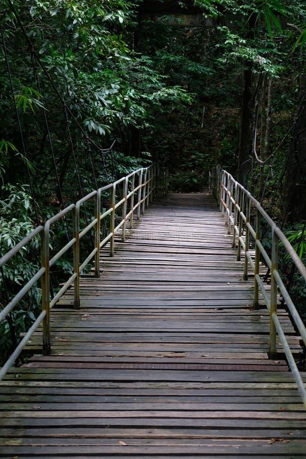 在Lumpee瀑布附近的桥梁在来自南方的风暴泰国 免版税库存图片