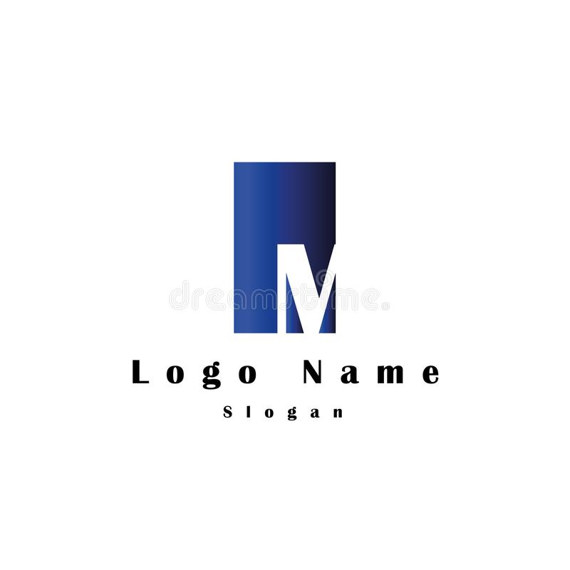 在M商标上写字有长方形背景和梯度颜色 向量例证