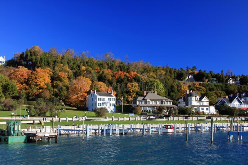 在Mackinaw海岛的秋天 库存图片